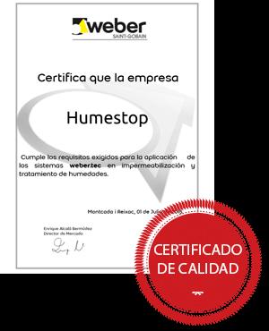 Certificado Weber - Humestop
