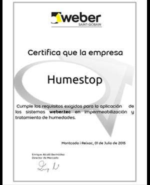 Certificado Calidad Humestop
